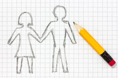 Bleistiftzeichnung des glücklichen Paars Lizenzfreies Stockbild