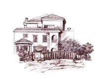 Bleistiftzeichnung des Hauses und der Bäume Stockfoto