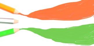 Bleistiftzeichnung des orange Safrans weiße grüne Farbgewellt Lizenzfreie Stockfotos