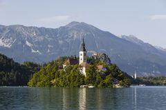 Blejski Otok, Lake Bled, Slovenia, featuring the church. And mountain lake Stock Images
