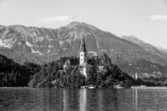 Blejski Otok, Lake Bled, Slovenia, featuring the church, lake, r. Blejski Otok, Lake Bled, Slovenia, featuring the church Royalty Free Stock Photo