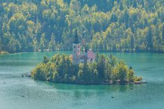 Blejski Otok, The most beautifully situated church. The most beautifully situated church in Slovenia, Blejski Otok, Bled, Slovenia Stock Photo