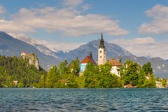 Blejski Otok, The most beautifully situated church. The most beautifully situated church in Slovenia, Blejski Otok, Bled, Slovenia Stock Image