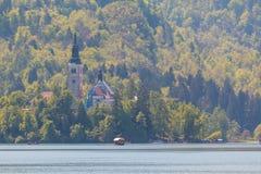 Blejski Otok pięknie obubrzeżny kościół zdjęcie stock