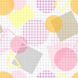 Blek sömlös modell med rosa färger, guling och grå geometrisk form Arkivbilder