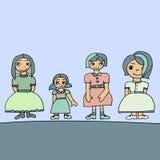 Bleke gekleurde reeks van vier leuke grafische hand getrokken meisjes Stock Illustratie