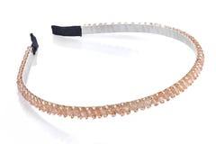 Bleke oranje hoofdband met parels en halfedelstenen, isolat Royalty-vrije Stock Fotografie