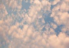Bleke pastelkleurhemel met pluizige wolken royalty-vrije stock foto's