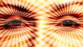Blekna in i att hypnotisera ögon stock video