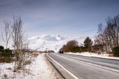 Blencathra-Berg bedeckt im Schnee Lizenzfreie Stockbilder
