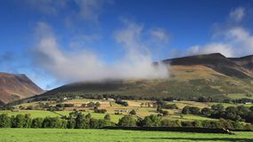 Blencathra Misty Morning. Blencathra, also known as Saddleback, is a mountain in the English Lake District national park stock video
