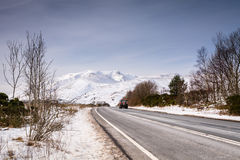 Blencathra Mountain covered in snow Royalty Free Stock Images
