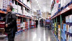 Blench and detergent product corridor stock footage