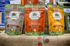 Blend of coffee and hemp seeds in vegan products fair where farmers and companies show their products to consumers stock images