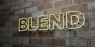BLEND - Glowing Neon Sign on stonework wall - 3D rendered royalty free stock illustration. Can be used for online banner ads and direct mailers vector illustration