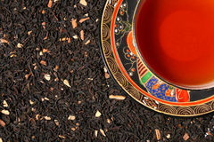 Blend of premium tea leaves and chinese tea cup Stock Photography