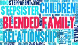 Blended Family Word Cloud Stock Photo
