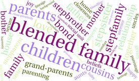 Blended Family Word Cloud. On a white background Stock Photography