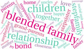 Blended Family Word Cloud. On a white background Stock Photos
