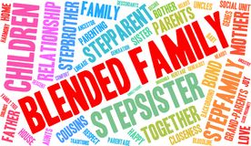 Blended Family Word Cloud. On a white background Royalty Free Stock Photos