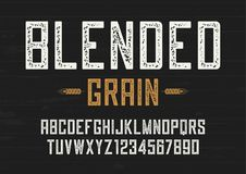Blended grain vector vintage sans serif font design, letterpress. Alphabet, typeface, typography Stock Photography