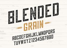 Blended grain vector vintage sans serif font design, letterpress. Alphabet, typeface, typography Stock Photos