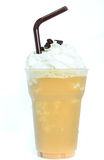 Blended iced coffee whipped cream. Blended iced coffee with whipped cream and drinks royalty free stock images