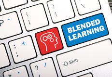 Blended learning concept. On keyboard button stock photo