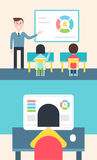 Blended Learning and Flipped Classroom Model Illustration. Blended Learning and Flipped Classroom Model Vector Illustration Royalty Free Stock Image