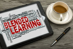 Blended learning word cloud. With related tags stock image