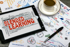Blended learning word cloud. With related tags royalty free stock image