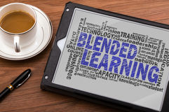 Blended learning word cloud. With related tags stock photos