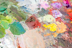 Blended oil paint on a palette Royalty Free Stock Photos