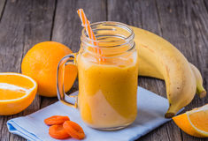 Blended smoothie with ingredients. Stock Images