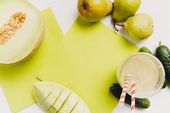 Blended smoothie with pear,cumumber and melon Royalty Free Stock Photo