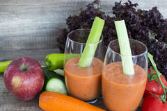 Blended vegetable and fruits. 2 glasses of Blended vegetable and fruits Stock Photos