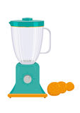 Blender Appliance with Orange Fruit Vector and jpg. Fruit or Vegetable Blender with Oranges Flat illustration. Appliance used in kitchens or laboratories to mix stock illustration
