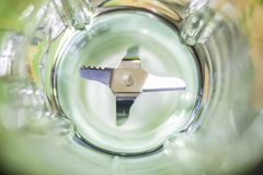 Blender blades viewed from above. Blender blades for fruit and vegetables and a use in the kitchen stock photography