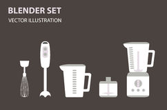 Blender flat icon set, household kitchen appliances, vector art Royalty Free Stock Photo