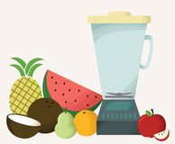 Blender with Fruit. A healthy way of living! Make fruit smoothies Stock Illustration