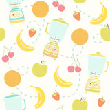 Blender and fruits pattern. Vector hand drawn seamless pattern Royalty Free Stock Photo
