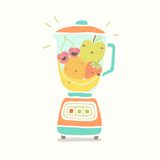 Blender full of funny fruits. Vector EPS 10 hand drawn illustration Stock Photography