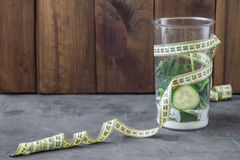 Blender full of vegetables and yogurt and meter. 90 60 90 concept stock photo