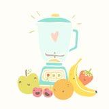 Blender and funny fruits for smoothie. Vector EPS 10 hand drawn illustration stock illustration