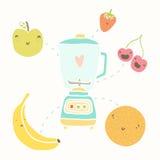 Blender and funny fruits. Vectro hand drawn illustration royalty free illustration