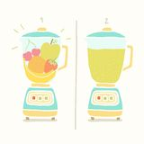 Blender making fruit smoothie. Vector EPS 10 hand drawn illustration Royalty Free Stock Photo
