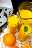 Blender or mixer with oranges Stock Images