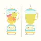 Blender robi owocowemu smoothie ilustracja wektor