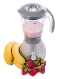 Blender with strawberries and bananas isolated Royalty Free Stock Image