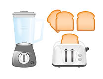 Blender, toaster and bread royalty free illustration